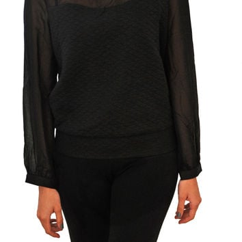 Black Sheer Quilted Blouse