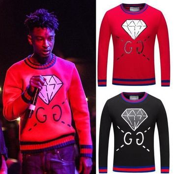 hcxx GG brand diamond red and black sweater