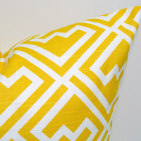 Yellow.Pillow.12x16 or 12x18 inch.Pillow Covers.Printed Fabric Front and Back.Yellow Housewares.Home Decor.Cushions.cm.Geometric