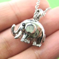 Small Elephant Animal Charm Necklace in Silver | Animal Jewelry