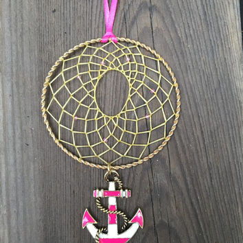 Gold and Pink Anchor Dream Catcher-Car