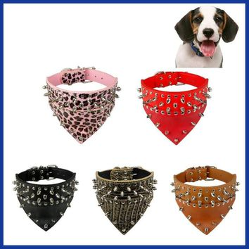 Adjustable Leather Rivet Spiked Studded Pet Puppy Dog Collar Neck Strap Cheap Beautiful Attractive Pet.