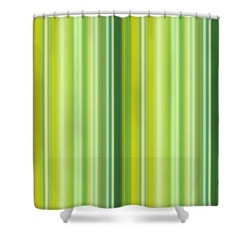 Green and Yellow Stripes Shower Curtain