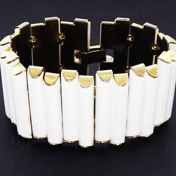 "Signed Crown Trifari, Vintage 1950s ""Syncopation"" White Lucite Thermoset Bracelet"