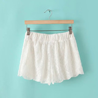 Lace Embroidered Casual Shorts