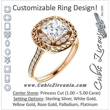Cubic Zirconia Engagement Ring- The Ariané Contessa (Customizable Cathedral-style Princess Cut featuring Cluster Accented Filigree Setting & Pavé Band)