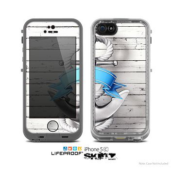 The Aged White Wood With Anchor Skin for the Apple iPhone 5c LifeProof Case