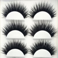 False EyeLashes 1 Box 6 Pairs Thick Black False Eyelashes Makeup Tips Natural Smoky Makeup Long Fake Eye Lashes