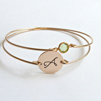 Gold Birthstone Bracelets Bangle Bridesmaid Jewelry Sterling Silver Mother's Bracelets Stacking Bangle Bridesmaid Gift