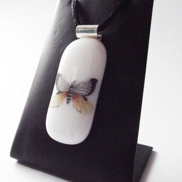 Butterfly Fused Glass Pendant White by SimonAldersonGlass on Etsy