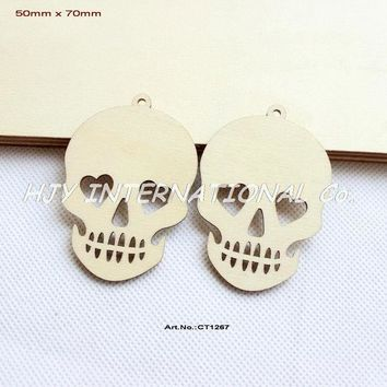 CREYET7 (60pcs/lot) 70MM Unfinished Blank Wood Skull Pendents Halloween Necklace Tags With Strings 2.8'-CT1267