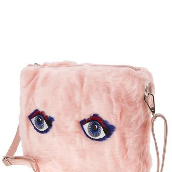 All Eyes On You Pink Fur Messenger Handbag