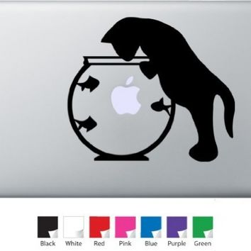 Cat with Fish Bowl Decal for Macbook, Air, Pro or Ipad