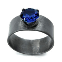 Wide Band Silver Ring with Deep Blue Sapphire