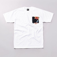 Flatspot - Less Flower Pattern Pocket T Shirt White
