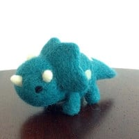 Triceratops, Felted Miniature Dinosaur, Dinosaur Art, Felt Dinosaur, Felt Animal, Miniature Animal, Dinosaur Ornament, Waldorf Animal