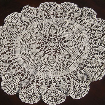 Vintage Crocheted Doily Round Ecru Crochet Centerpiece Table Topper