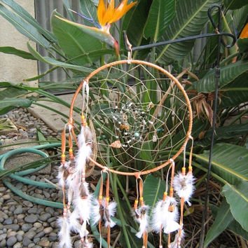 Wild Turkey Dreamcatcher, Native American inspired large Apricot leather and wild turkey feathers purple beads