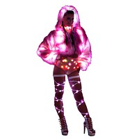 LED Pink Cropped Faux Fur Rave Coat