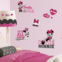 Roommates Rmk2180Scs  Mickey And Friends - Minnie Loves Pink Peel And Stick Wall Decals