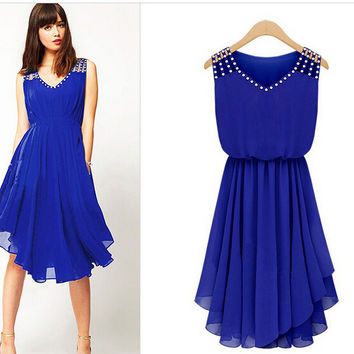 Blue Studded Asymmetrical Chiffon Midi Dress