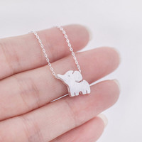 Cute Baby Elephant Silver Necklace