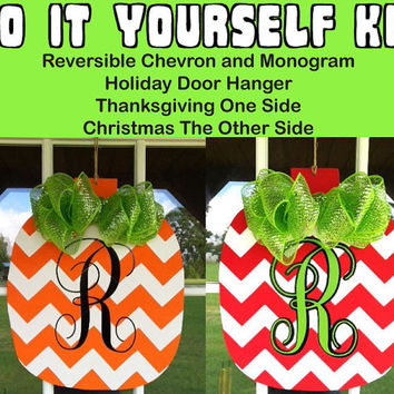 DIY Do it Yourself Reversible Thanksgiving and Christmas Door Hanger Kit with Personalized Monogram Decal