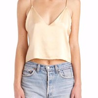 Satin V Neck Cami Crop Top