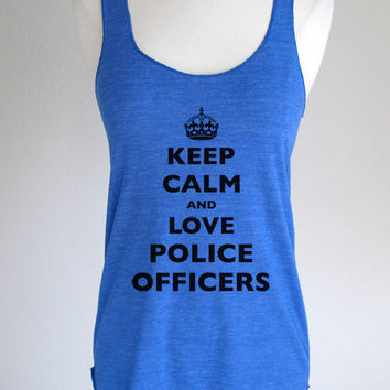 Keep Calm and Love Police Officers Soft Eco-Heather Racerback Tank by Alternative Apparel
