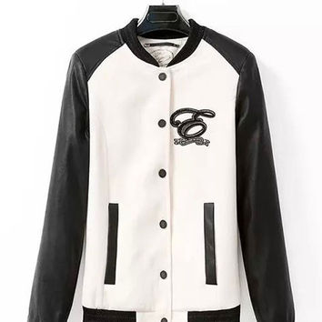 White Faux Leather Embroidered Jacket with Pocket