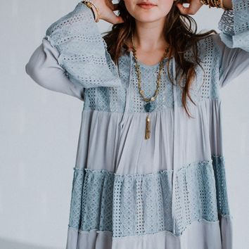 Taliya Bell Sleeve Lace Trim Tunic - Gray