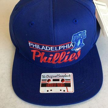 DCCKIHN AMERICAN NEEDLE PHILADELPHIA PHILLIES RETRO BLUE FLAT BRIM SNAPBACK HAT