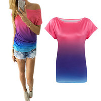 SIMPLE - Summer Floral Printed Gradient Color Top T-Shirt a12368