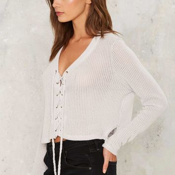 Crystal Cove Lace-Up Sweater