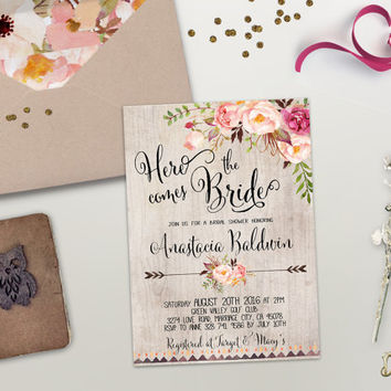 Floral Bridal Shower Invitation Printable Boho Bridal Shower Invite Rustic Bridal  Shower Bohemian Bridal Shower Peonie