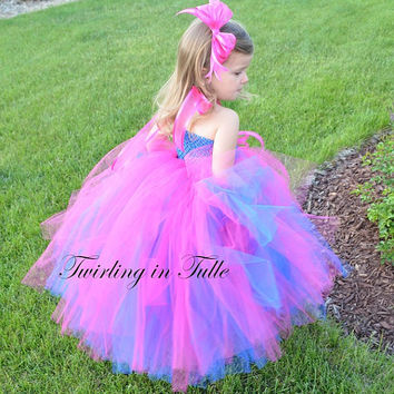 Royal Blue/Shocking Pink Tulle Flower Girl Dress Size 0-24M
