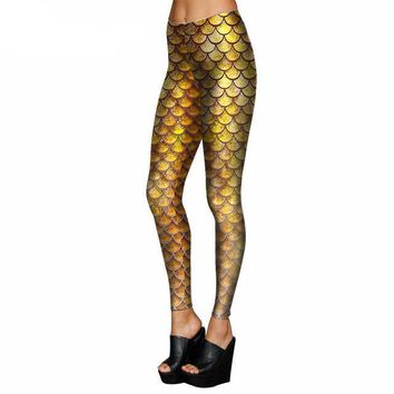 Yellow Mermaid Scale Leggings