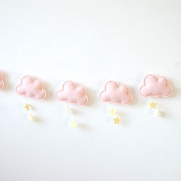 Cloud Star Moon Garland, Pink and Yellow nursery garland, Baby Girl Nursery, baby room decor, Girl wall decor, Pastel nursery garland