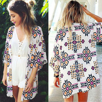 White Chiffon Geometry Printed Beach Cover Up Kimono