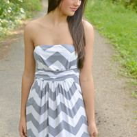 Gray Chevron Maxi Dress