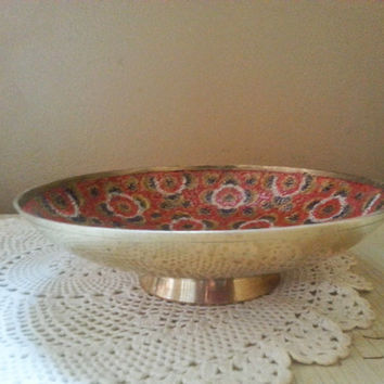 Brass Enamel Footed Bowl Red Black White Floral Made in India