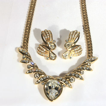 Designer Gold Rhinestone Necklace Earrings Set
