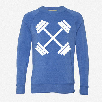 Gym Crossed Dumbbell Barbell Weight Athletics_Rectangle fleece crewneck sweatshirt