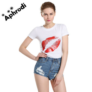 T Shirt Women TShirt Lips Printed Short Sleeve Tshirt Plus Size Sexy shirt women Black Tees camisas femininas