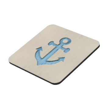 Coasters - Set of Six, blue rustic anchor on sand colored background