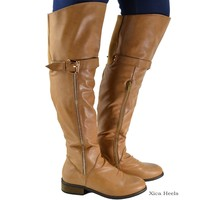 Women's Over The Knee Thigh High Boots Buckle Faux Leather Flat Beige or Black