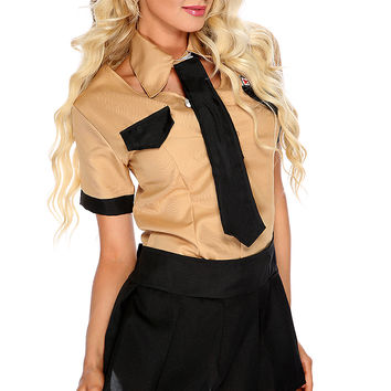 Camel Black 2.Piece Sexy Officer Costume
