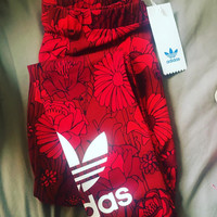 adidas Originals Red Big Floral Print Leggings