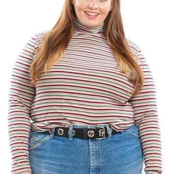 Vintage Y2K Retro Grade Striped Turtleneck - XL/2X/3X/4X
