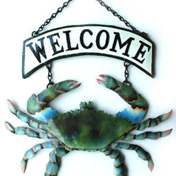 Hand Painted Metal Art Crab Welcome Sign - Blue Crab Metal Wall Art - Nautical Metal Wall Decor - Garden Decor - Tropical Decor -  K-7066-CW